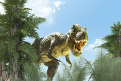 Dinosaur in landscape. Dinosaur in the jungle background. 3D render Stock Image