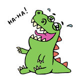 Dinosaur laughs. Vector illustration. Unbridled joy. royalty free stock photography