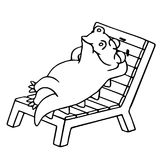 Dinosaur lays on a deck-chair. Vector illustration. Funny imaginary character. Royalty Free Stock Images