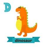 dinosaur Lettera di D Alfabeto animale dei bambini svegli nel vettore Divertimento illustrazione vettoriale