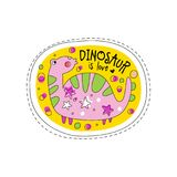 Dinosaur is love patch badge, cute cartoon animal sticker hand drawn vector Illustration on a white background Stock Photos