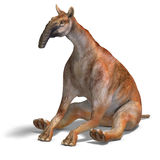 Dinosaur Macrauchenia. Funny and curios dinosaur Macrauchenia. 3D render with clipping path and shadow over white vector illustration