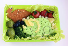 The dinosaur is made of rice. Kyaraben, bento Stock Images
