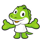 Dinosaur mascot the direction of pointing with both hands. Anima Stock Image