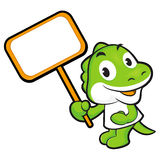 The Dinosaur mascot holding a big board. Animal Character Design Royalty Free Stock Images