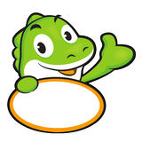The Dinosaur mascot holding a big board. Animal Character Design Stock Images
