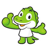 Dinosaur Mascot the left hand best gesture and the right hand gu Royalty Free Stock Photos