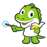 Dinosaur mascot the left hand guides and the right hand is holdi Stock Photos