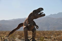 T-Rex Dinosaur Metal Sculpture at Anza Borrego Desert California. Dinosaur metal sculptures in the Anza Borrego Desert. Sculptures are public art displayed over royalty free stock image