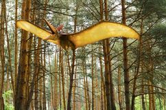 Dinosaur model Pteranodon in flight in Dinosaur Park.  Stock Photo