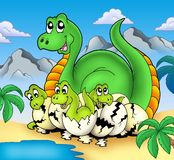 Dinosaur mom with little babies. Color illustration Stock Photo