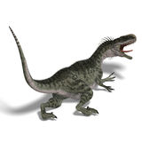 Dinosaur Monolophosaurus. 3D render with clipping path and shadow over white Royalty Free Stock Image