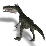 Dinosaur Monolophosaurus. Giant jurassic beast. 3D render with clipping path and shadow over white Stock Photo