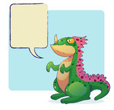 Dinosaur monster with word bubble Stock Photos