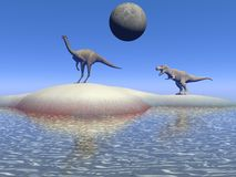 Dinosaur and moon Royalty Free Stock Image