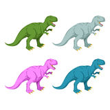 Dinosaur multicolored set. Pink Tyrannosaurus Rex. Blue prehistoric reptile. Ancient predator. Animal Jurassic with big teeth. Aggressive beast. Terrible Stock Photo