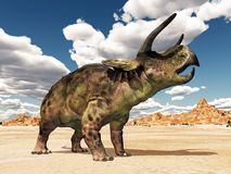 Dinosaur Nasutoceratops in the desert. Computer generated 3D illustration with the dinosaur Nasutoceratops in the desert Stock Photo