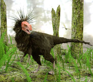 Dinosaur Ornitholestes In Swamp Forest. The dinosaur Ornitholestes pauses to watch a dragonfly while moving through a swampy forested area in this late Jurassic Stock Photo
