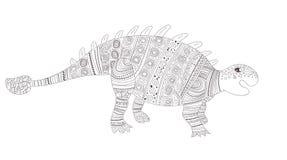 dinosaur Página da coloração para o vetor da criança e dos adultos cartoon Arte isolada ilustração do vetor