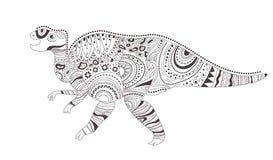 dinosaur Página da coloração Vetor cartoon Arte isolada Ilustração do Vetor