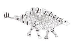 dinosaur Página da coloração Vetor cartoon Arte isolada no branco ilustração stock