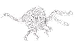 dinosaur Page de coloration pour le vecteur d'enfant et d'adultes cartoon Art d'isolement illustration stock