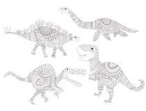 dinosaur Pagina di coloritura per il vettore degli adulti e del bambino fumetto Isolato illustrazione vettoriale