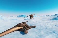 dinosaur Paisagem pré-histórica da neve, vale do gelo com dinossauros Vista ártica ilustração royalty free