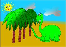 Dinosaur and palm trees Royalty Free Stock Photo