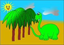 Dinosaur and palm trees. Dinosaur palm sun food green dino animal children kids jurassic vector illustration