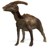 Dinosaur Parasaurolophus. 3D rendering with clipping path and shadow over white stock illustration
