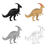 Dinosaur Parasaurolophus icon in cartoon style isolated on white background. Dinosaurs and prehistoric symbol stock Stock Photography
