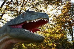 Dinosaur in park in outdoors Royalty Free Stock Photo