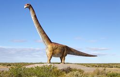 Dinosaur, Patagotitan mayorum, Patagonia, Argentina. Dinosaur scale model, Patagotitan mayorum, in Chubut Province, Patagonia, Argentina stock image