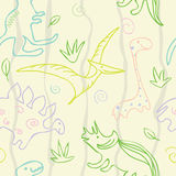 Dinosaur pattern. Pastel color. smile dinosaur. wave background Royalty Free Stock Photo