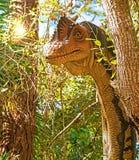 Dinosaur Peeking Around Tree Stock Photography