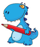 Dinosaur with a pencil Stock Image