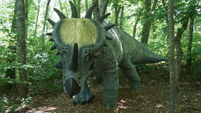 The Dinosaur Place at Nature's Art Village in Montville, Connecticut. The park features over 40 life-sized dinosaurs on 1.5 miles of nature trails stock photography