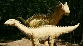 The Dinosaur Place at Nature's Art Village in Montville, Connecticut. The park features over 40 life-sized dinosaurs on 1.5 miles of nature trails stock images