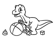 Dinosaur play ball Jurassic period coloring pages Stock Photography