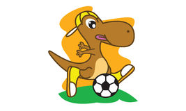 Dinosaur play football Royalty Free Stock Image