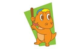 Dinosaur Playing Baseball Stock Photography