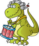 Dinosaur playing Drums. Patriotic Dinosaur playing and marching with drums royalty free illustration