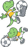 Dinosaur Playing Soccer. Illustration of a Tyrannosaurus dinosaur playing soccer- 2 poses Royalty Free Stock Image
