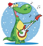 Dinosaur plays guitar with santa hat. Singing dinosaur wearing a santa hat and playing christmas music on a guitar over a blue snowy oval Stock Image