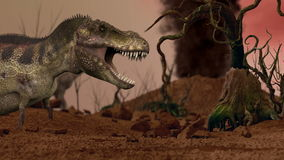 Dinosaur. Prehistoric Jungle, landscape, valley with Dinosaurs. Realistic animation and motion stock footage
