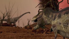 Dinosaur. Prehistoric Jungle, landscape, valley with Dinosaurs. Realistic animation and motion stock video