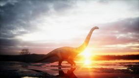 Dinosaur. Prehistoric period, rocky landscape. Wonderfull sunrise. 3d rendering. Dinosaur. Prehistoric period, rocky landscape. Wonderfull sunrise 3d rendering stock illustration