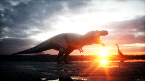 Dinosaur. Prehistoric period, rocky landscape. Wonderfull sunrise. 3d rendering. Royalty Free Stock Images