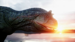 Dinosaur. Prehistoric period, rocky landscape. Wonderfull sunrise. 3d rendering. Royalty Free Stock Photography